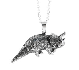 Sterling Silver Tricerotops Dinosaur Necklace