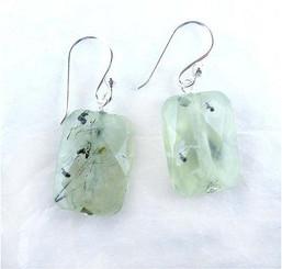 Sterling Silver Cushion Cut Drop Earrings, Prehnite