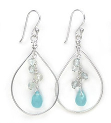 Sterling Silver Teardrop with Cascading Stone & Crystal Cluster, Topaz
