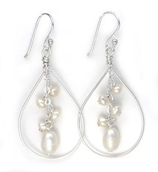 Sterling Silver Teardrop with Cascading Cultured Pearl Cluster, White
