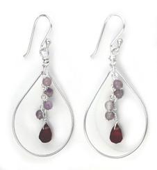 Sterling Silver Teardrop with Cascading Stone & Crystal Drop Earrings, Amethyst