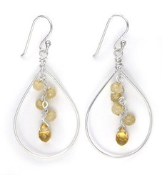 Sterling Silver Teardrop with Cascading Stone & Crystal Cluster, Citrine