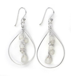 Sterling Silver Teardrop with Cascading Stone Cluster, Moonstone