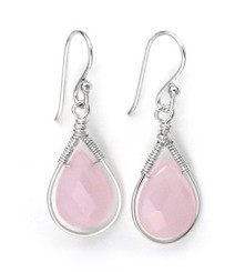 Sterling Silver Wire-wrapped Crystal Teardrop Earrings, October Pink