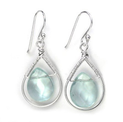 Sterling Silver Wire-wrapped Crystal Teardrop Earrings, March Aqua