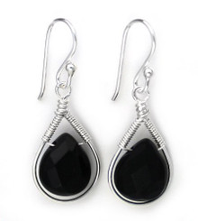 Sterling Silver Wire-wrapped Crystal Teardrop Earrings, Jet Black