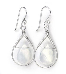 Sterling Silver Wire-wrapped Crystal Teardrop Earrings, April Clear