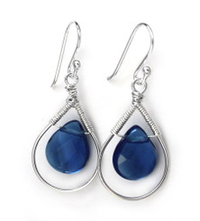 Sterling Silver Wire-wrapped Crystal Teardrop Earrings, September Blue