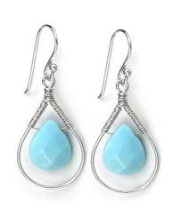 Sterling Silver Wire-wrapped Crystal Teardrop Earrings, Sky Blue