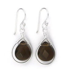Sterling Silver Wire-wrapped Crystal Teardrop Earrings, Smoky