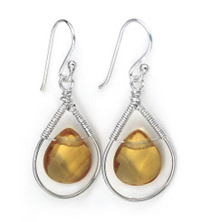 Sterling Silver Wire-wrapped Crystal Teardrop Earrings, November Yellow