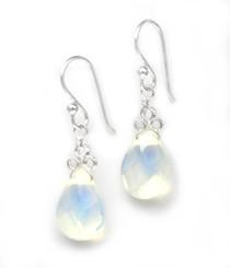 "Sterling Silver ""Crowne"" Briolette Crystal Drop Earrings, Opalite"