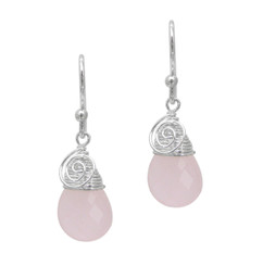 Briolette Stone Drop Coil and Spiral Wrapped Sterling Silver Earrings, Rose Pink