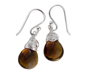 Briolette Stone Drop Coil and Spiral Wrapped Sterling Silver Earrings, Smoky