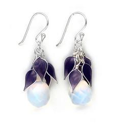 """Sterling Silver """"Tatiana"""" Enamel Leaves Teardrop Crystal Earrings, Opalite"""