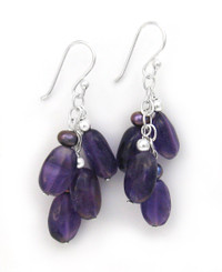 Sterling Silver Gemstones Cluster on Chain Drop Earrings, Amethyst