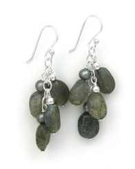 Sterling Silver Gemstones Cluster on Chain Drop Earrings, Labradorite