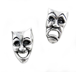 Sterling Silver Comedy Tragedy Masks Post Earrings