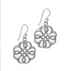 Sterling Silver Celtic Knot Open Clover Earrings