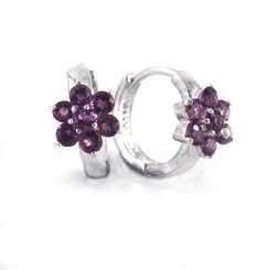 Sterling Silver Flower Crystal Huggie Hoop Earrings, Purple