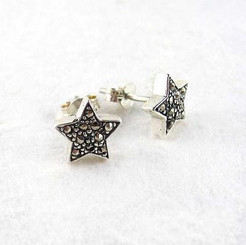 Sterling Silver & Marcasite Stones Star Post Earrings