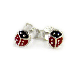 Sterling Silver Enamelled Ladybug Stud Post Earrings