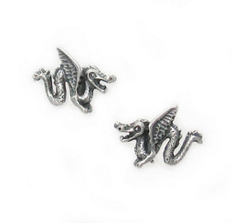Sterling Silver Winged Dragon Stud Post Earrings