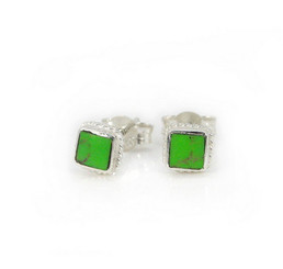 Sterling Silver Stone Inlay Square Stud Twist Rope Post Earrings, Gaspeite 4mm