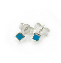 Sterling Silver Everyday Stone Inlay Square Stud Post Earrings, Turquoise 2mm