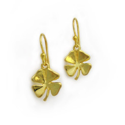 Gold Plated on Sterling Silver Four Leaf Clover Earrings