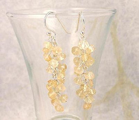 Sterling Silver Gemstone Cluster Drop Earrings, Citrine