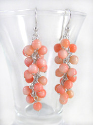 Sterling Silver Gemstone Cluster Drop Earrings, Coral