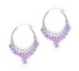 Sterling Silver Hoops Sparkling Swarovski Crystals Earrings, Lavender