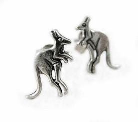 Sterling Silver Bounding Kangaroo Post Earrings