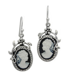 Flower Vine Cameo Earrings, Black
