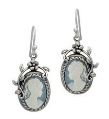 Flower Vine Cameo Earrings, Blue