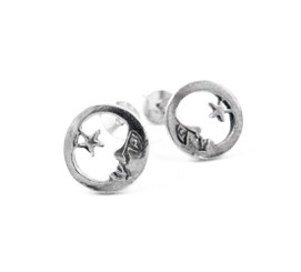 Sterling Silver Moon Face and Star Post Earrings
