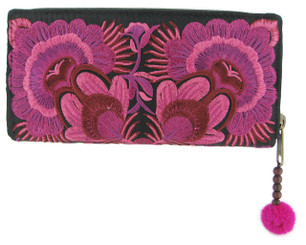 Floral Embroidery Zip Around Wallet, Pink