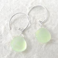 Stone Drop Circle Hook Earrings, Green Chalcedony