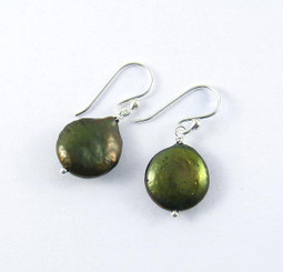 Sterling Silver Cultured Coin Pearl Drop Earrings, Olive