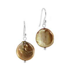 Sterling Silver Cultured Coin Pearl Drop Earrings, Golden