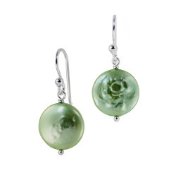 Sterling Silver Cultured Coin Pearl Drop Earrings, Spring Green