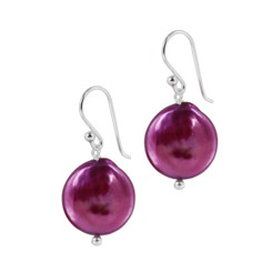 Sterling Silver Cultured Coin Pearl Drop Earrings, Fucshia