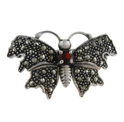 Garnet & Marcasite Butterfly Brooch Pin