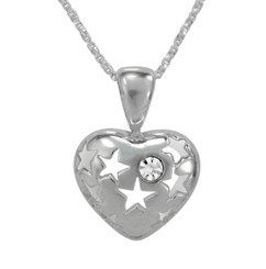 Stars & Stone Puffy Heart Necklace