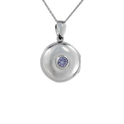 Round Locket & Stone Necklace, Lavender