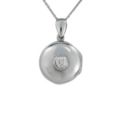 Round Locket & Stone Necklace, Clear