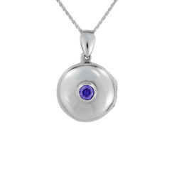 Round Locket & Stone Necklace, Purple