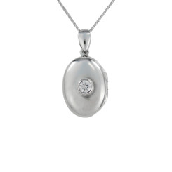 Oval Locket & Stone Necklace, Clear