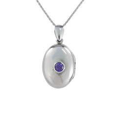 Oval Locket & Stone Necklace, Purple